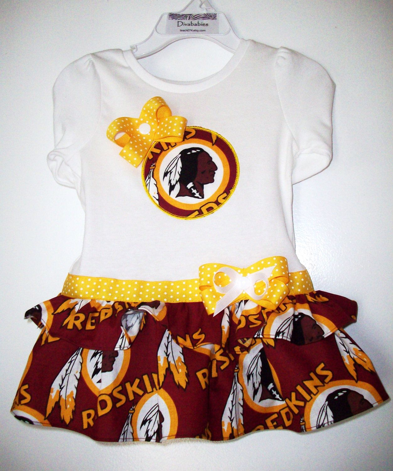 NFL Washington Redskins Custom Boutique Diva Style Appliqued Ruffled T-Shirt  Dress- or You Choose NFL Team.  28.00 946be7ad1