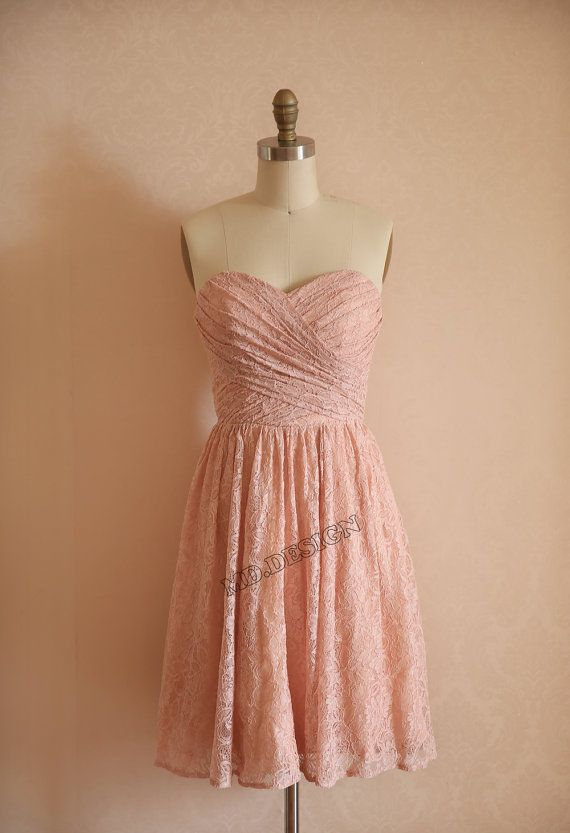 Dusty Rose Pink Peach Lace Bridesmaid Dress Prom Dress Strapless ...