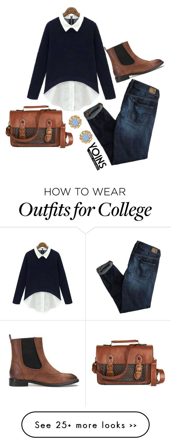 """""""Collegiate Life"""" by flyintotheindigosky on Polyvore featuring American Eagle Outfitters, MustHave, fall2015 and yoins"""