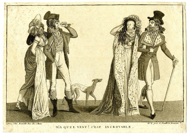 """H!a quel vent! C'est incroyable"" © The Trustees of the British Museum. Satire on the Incroyables: two couples face each other, the Incroyable in one peers through a glass as the wind lifts off the wig of the Merveilleuse of the other. c.1797 Etching and aquatint"