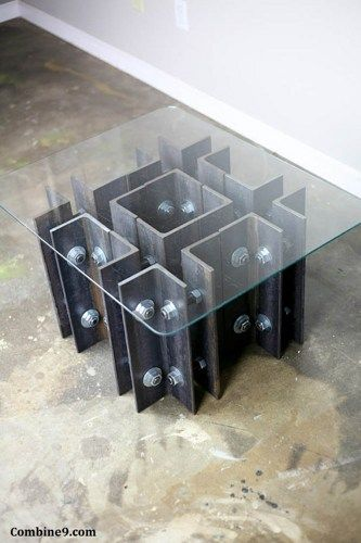 modern industrial coffee end table unique one of a kind design