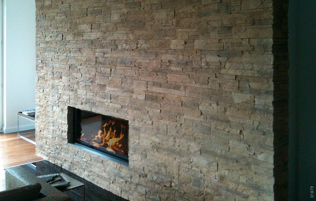 Kamin Wandgestaltung Stein Lascas Gris | Kamin Mit Steinoptik
