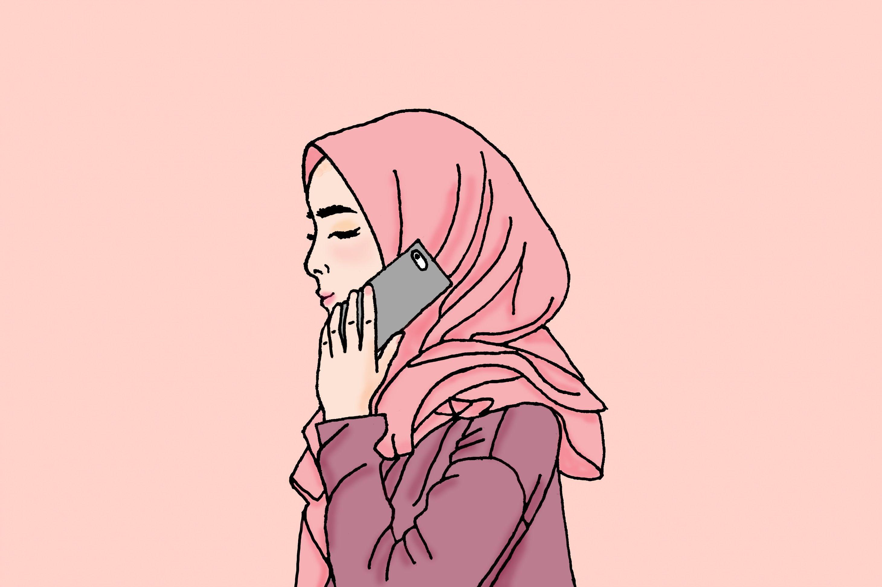 kartun sahabat muslimah cantik Anime muslim, Cartoon art