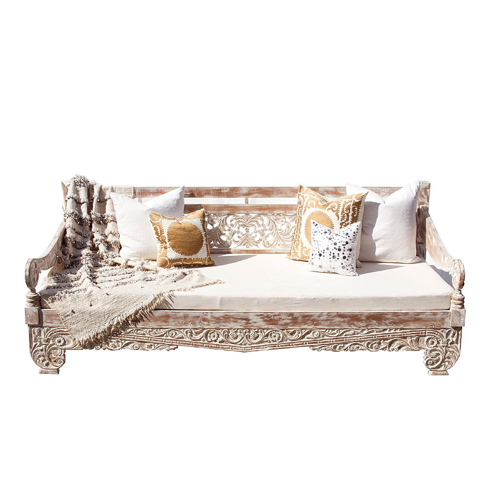 this sturdy carved whitewashed daybed is hand carved with scrolling