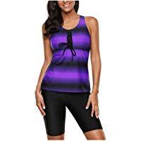Womens Racerback Color Block Print Plus Size Tankini Swimsuits with Swim Capris …