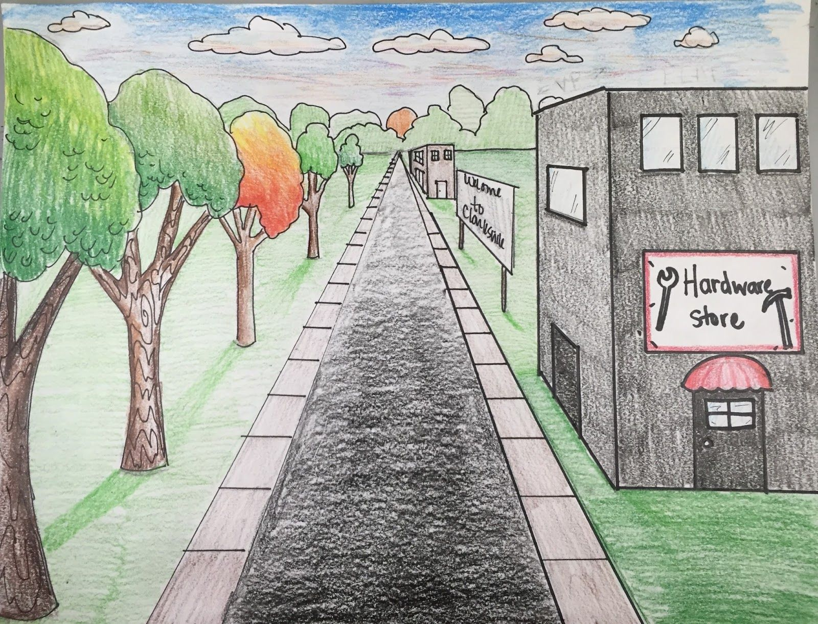 5th Grade One Point Perspective Landscapes Perspective Art Landscape Drawings One Point Perspective