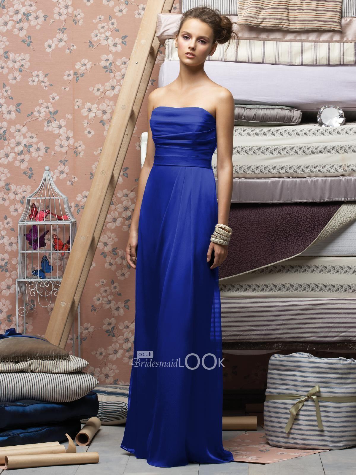 Royal blue bridesmaid dress strapless long chiffon evening dress royal blue bridesmaid dress strapless long chiffon evening dress with pleated bodice ombrellifo Gallery