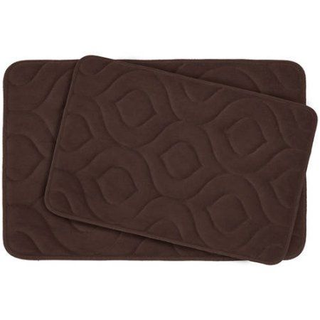 Bounce Comfort Naoli Micro Plush Memory Foam Bath Mat with BounceComfort Technology, Set of 2, Blue