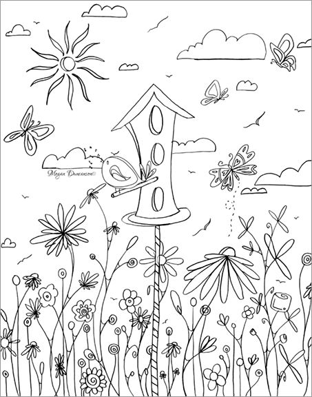 Whimsical Bird House Flowers Free Coloring Page Download