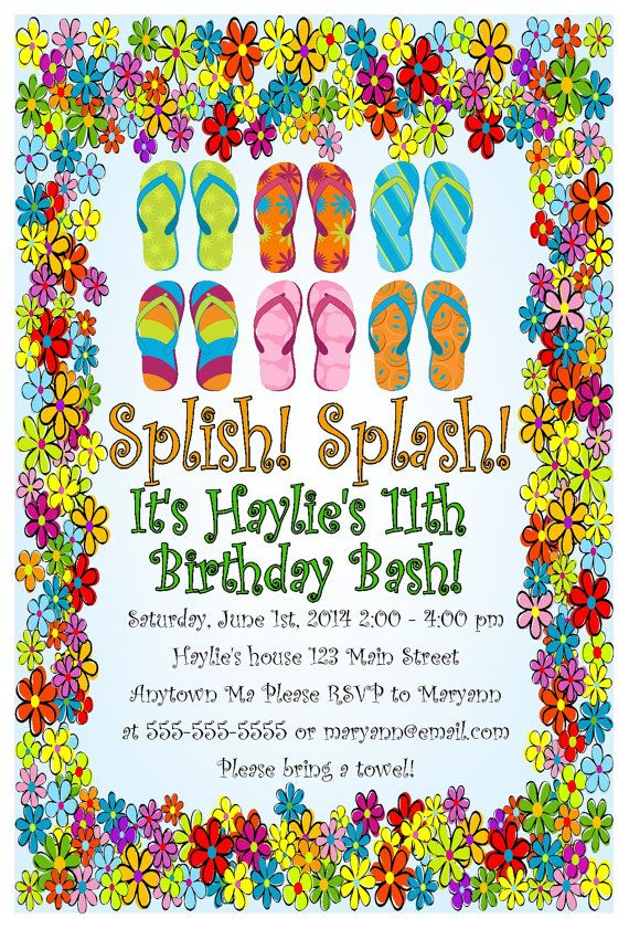 Pool party flip flops summer time beach digital printable birthday pool party flip flops summer time beach digital printable birthday baby bridal shower invitations filmwisefo