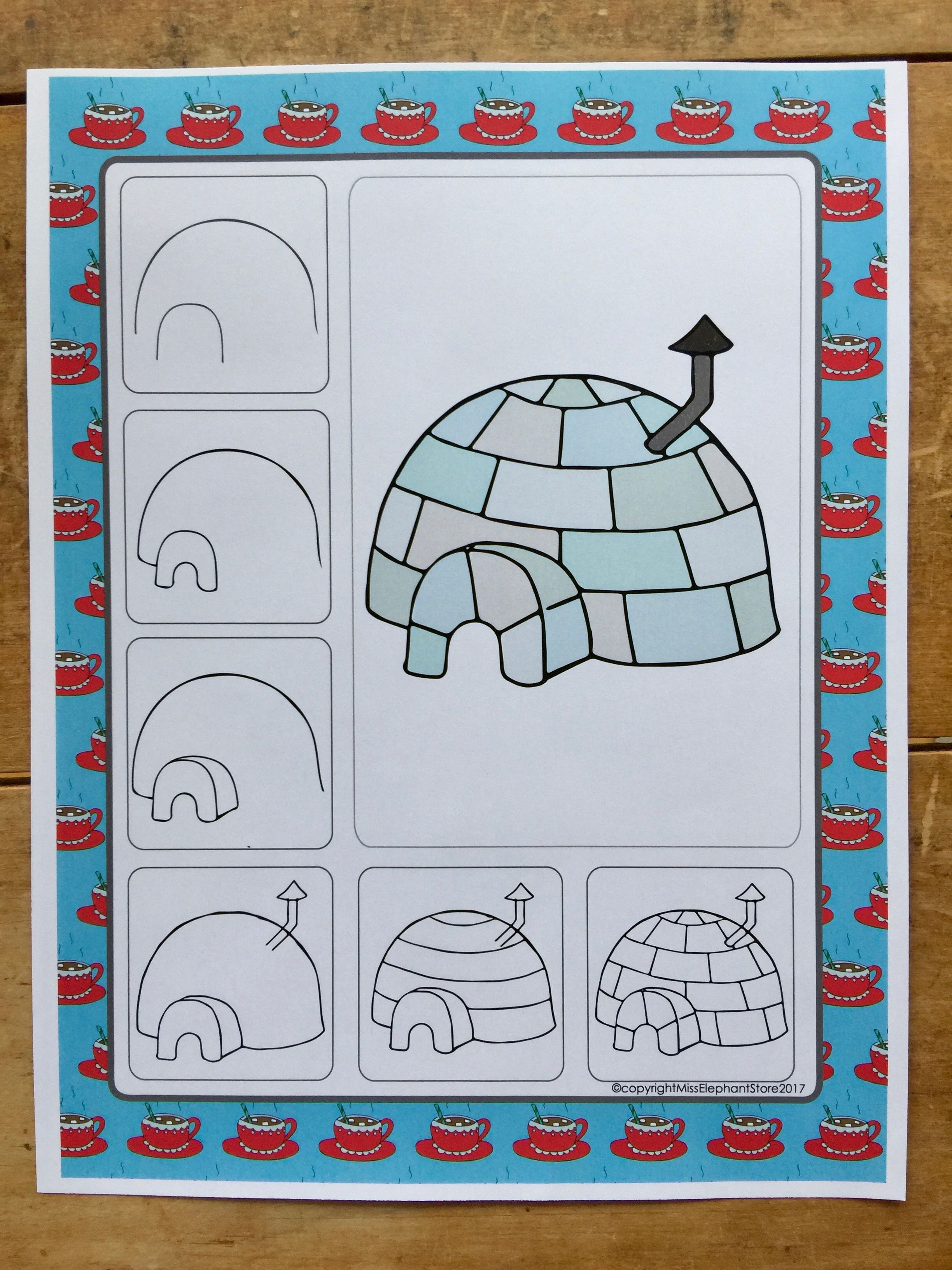 Igloo Directed Drawing Winter Art Projects Grades 2 And Grade 4