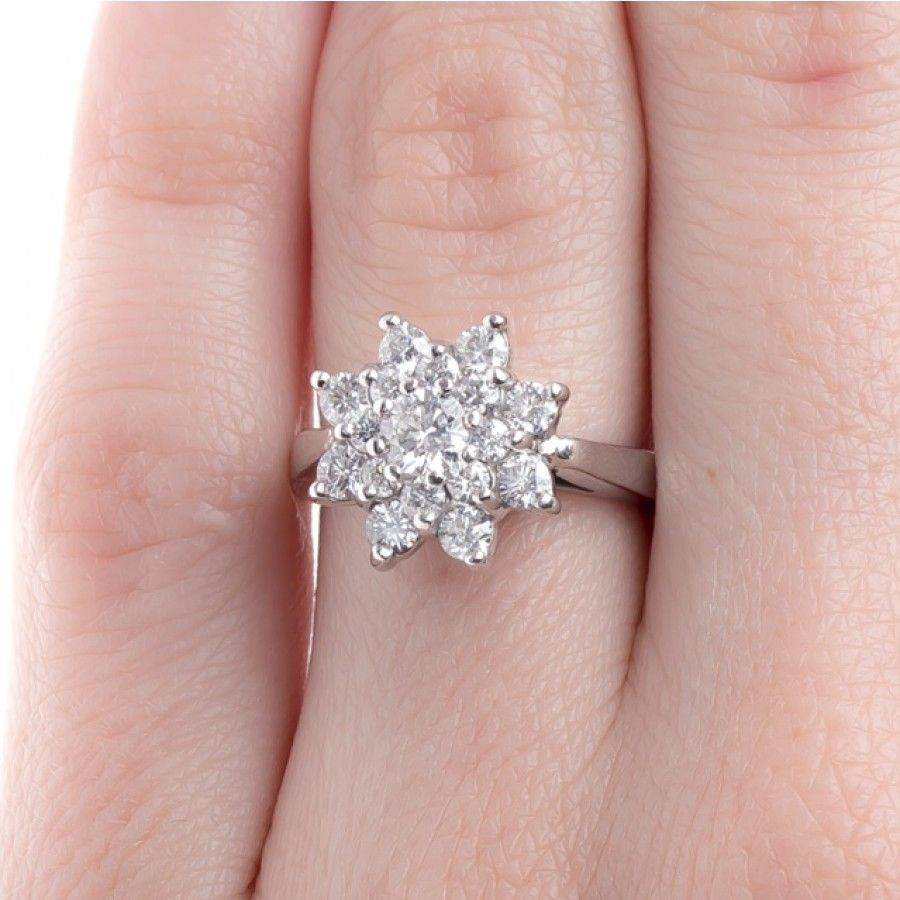 Dramatic Snowflake Ring with Double Diamond Halo | Cape Coral ...