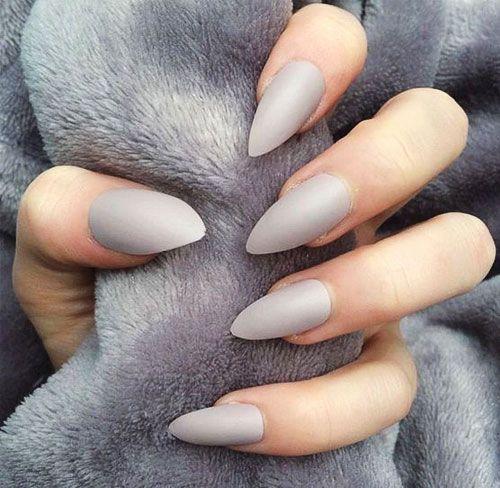 50 Beautiful Nail Designs To Try This Winter Light Gray Nails Gray Nails Fake Nails
