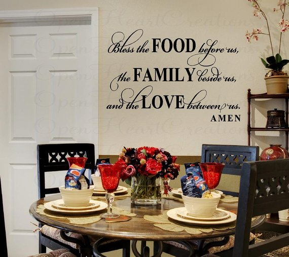 bless this food before us wall decal - dining room meal prayer wall