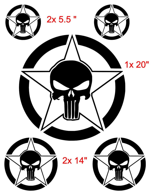 PUNISHER Star Skull Decal Decals Stickers Hood Door Fender ...