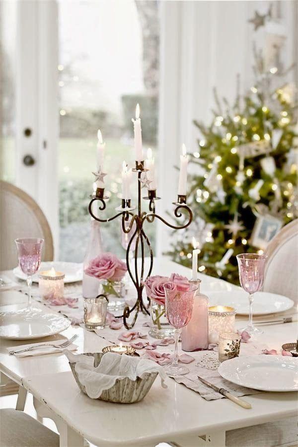 41 Magical Christmas Table Setting Ideas & 41 Magical Christmas Table Setting Ideas | Pink christmas Christmas ...