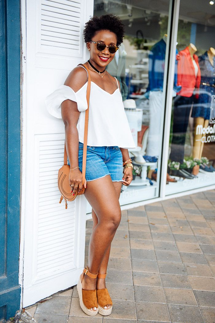 f3c69aeb186 summer outfit with asos cold shoulder top and jcrew denim shorts and marc  fisher adalyn wedges-6