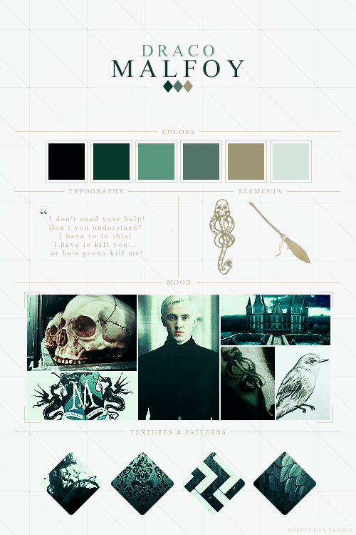 Character Design Mood Board : Emptyfantasies character mood boards draco malfoy