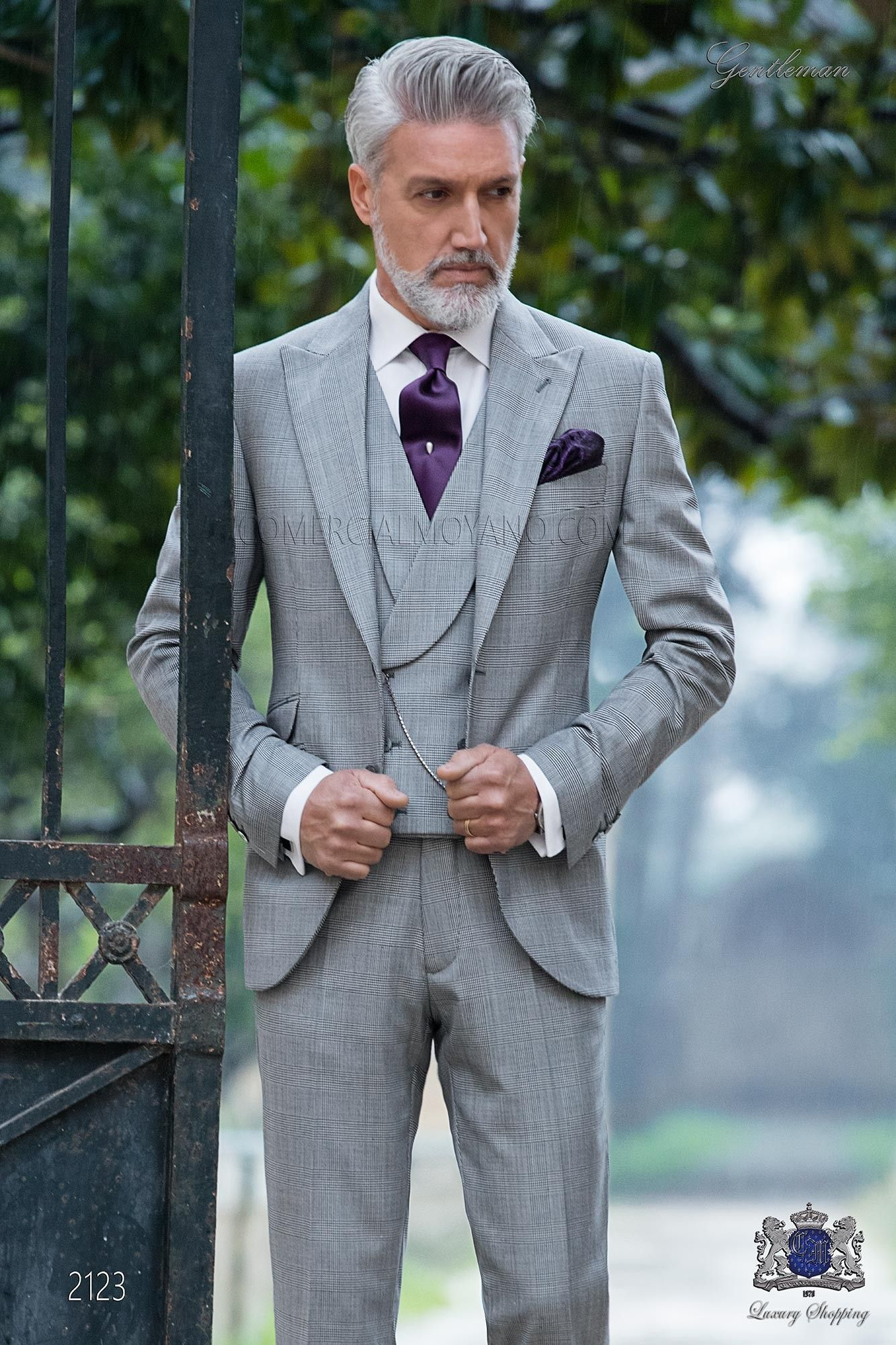 Italian Bespoke Prince of Wales grey morning suit | Mens business ...
