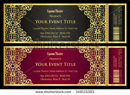 Vintage black and red ticket with golden ornament - stock vector - event tickets template