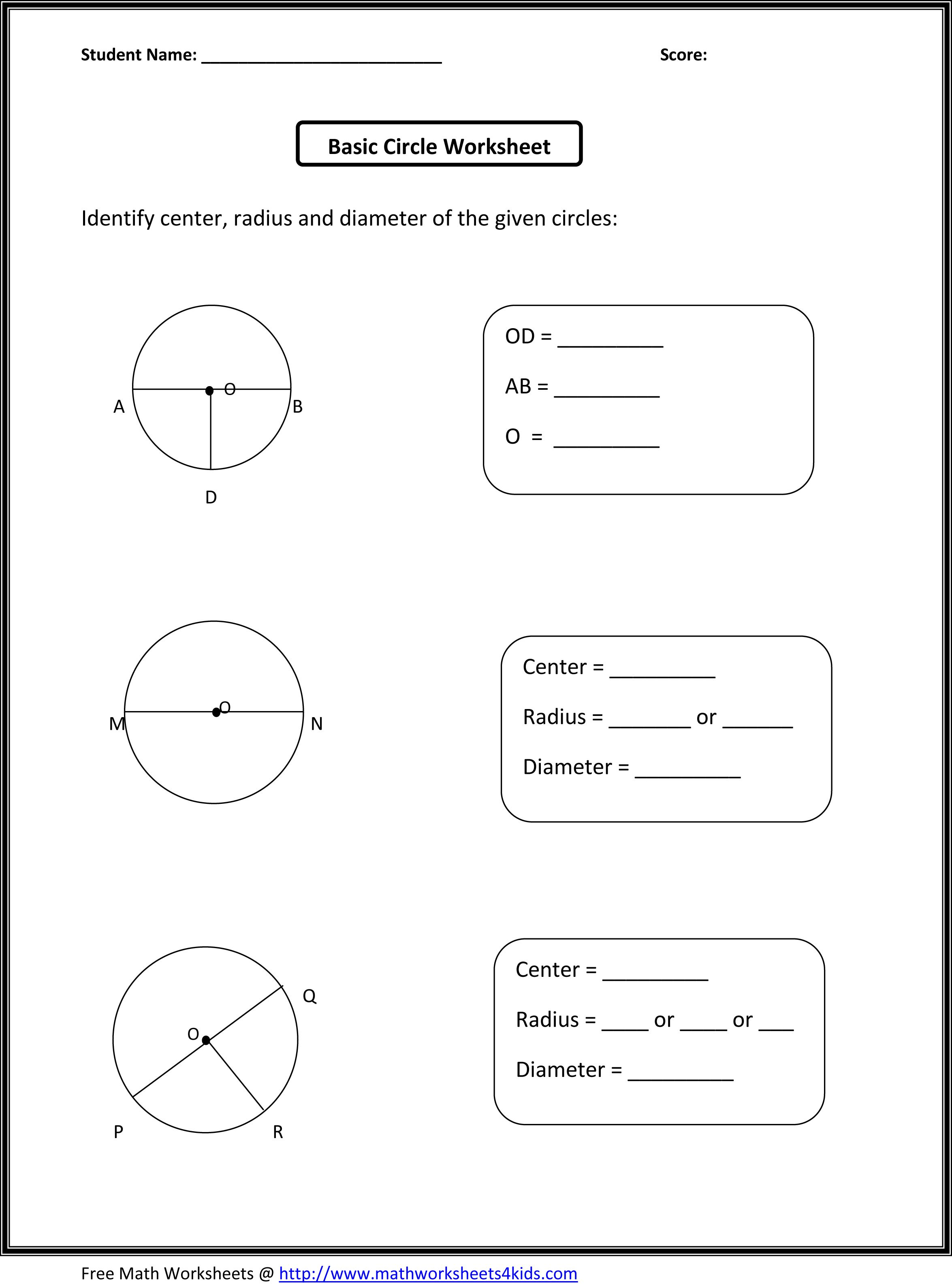 Basic circle worksheets | Math charts | Pinterest