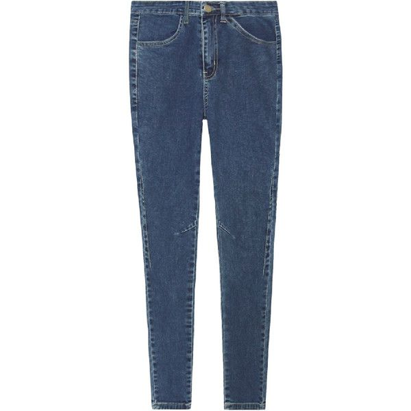 Chicnova Fashion Retro Style High Waist Skinny Long Jean ($47) ❤ liked on Polyvore featuring jeans, pants, bottoms, denim, super skinny jeans, high-waisted jeans, skinny jeans, long skinny jeans and blue denim jeans