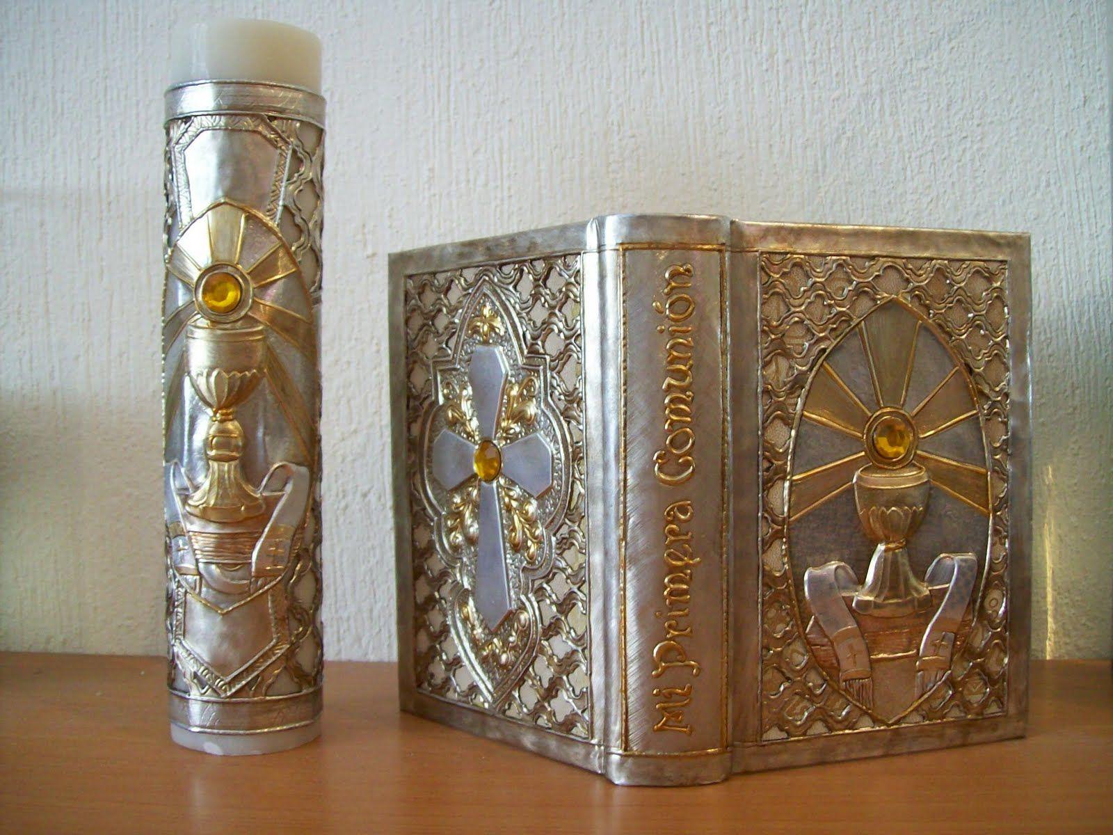 Velas primera comuni n fotos velas biblias repujado para for Decoracion de velas para bautizo