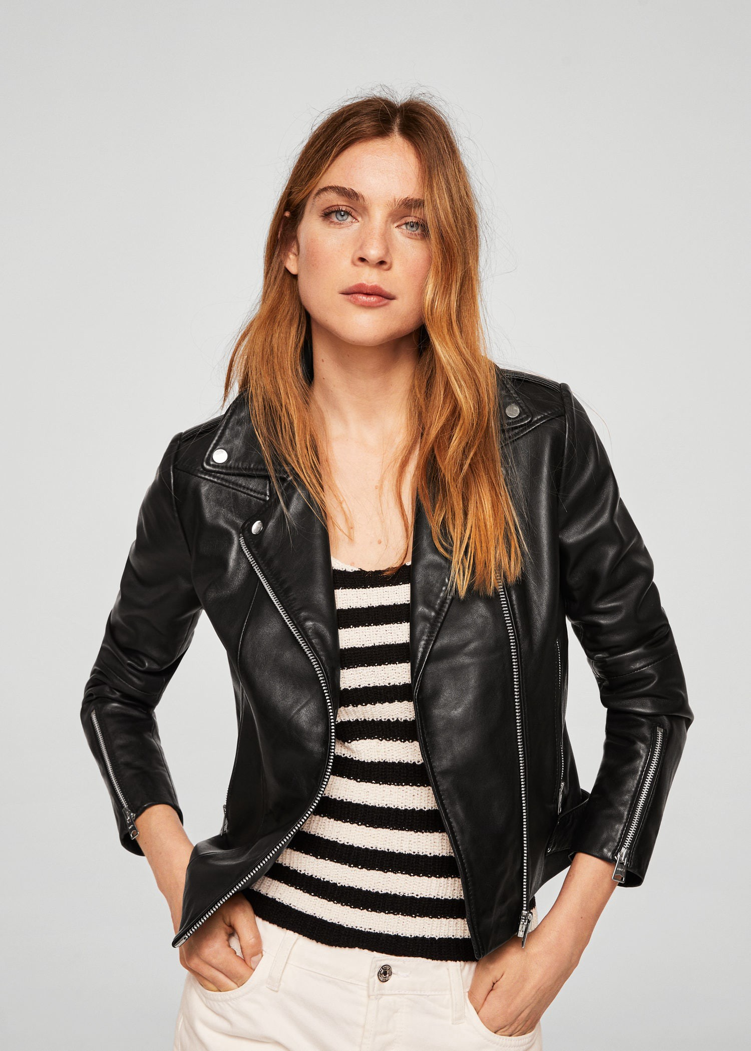 b2d486a63517 Zipper leather biker jacket by Mango in 2019