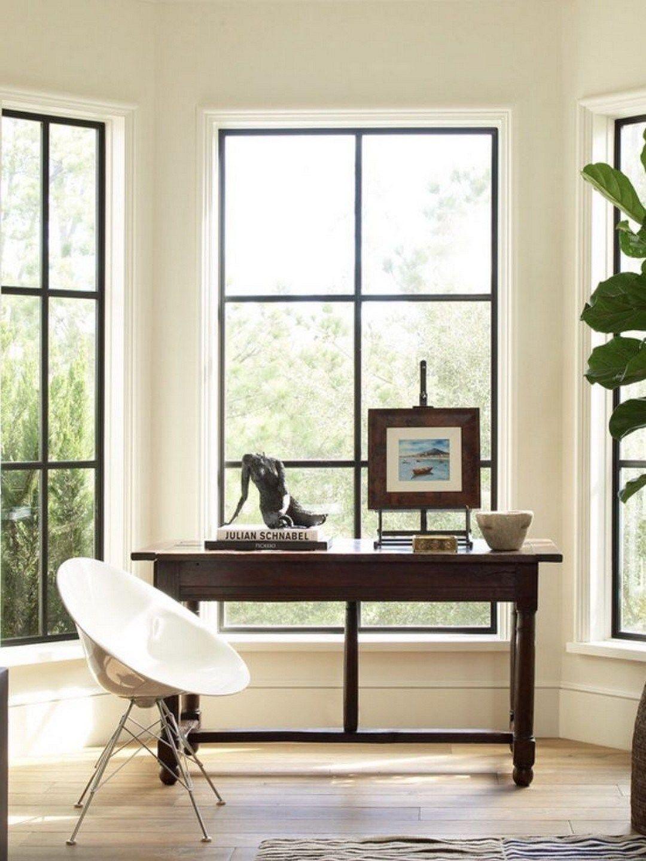 65 modern farmhouse home office with black window trim