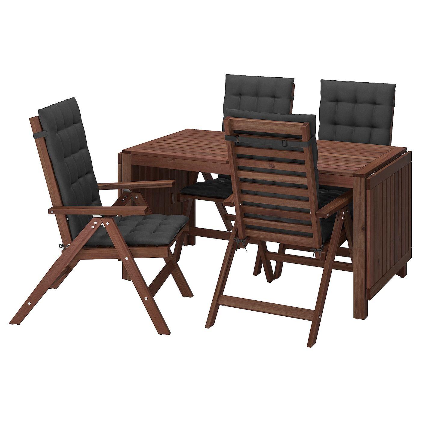 Ikea Eettafel 4 Stoelen.Applaro Tisch 4 Hochlehner Aussen Braun Las Hallo Schwarz