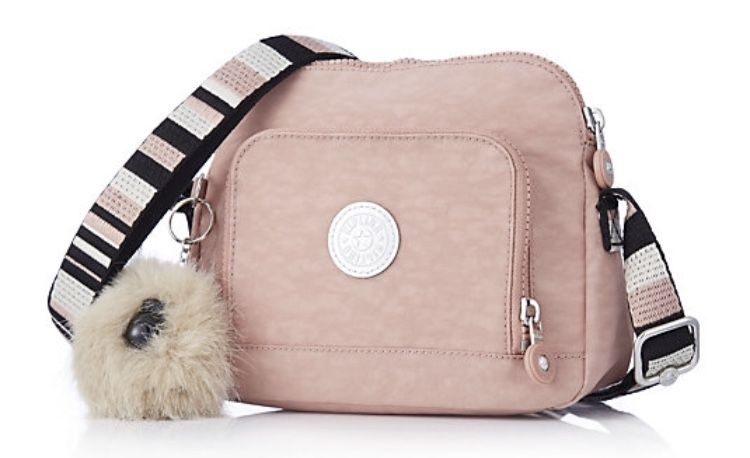 Kipling Wiske crossbody bag Pink Stripe with June monkey