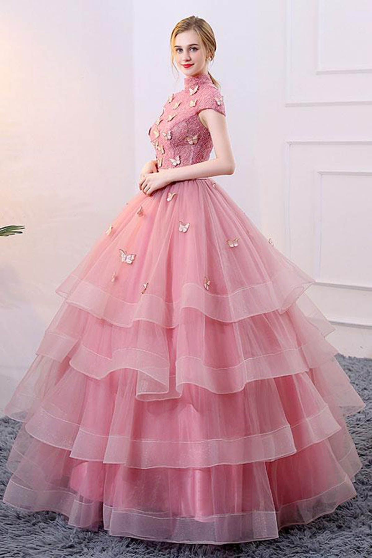 Spring pink tulle aline long winter formal prom dress long cap