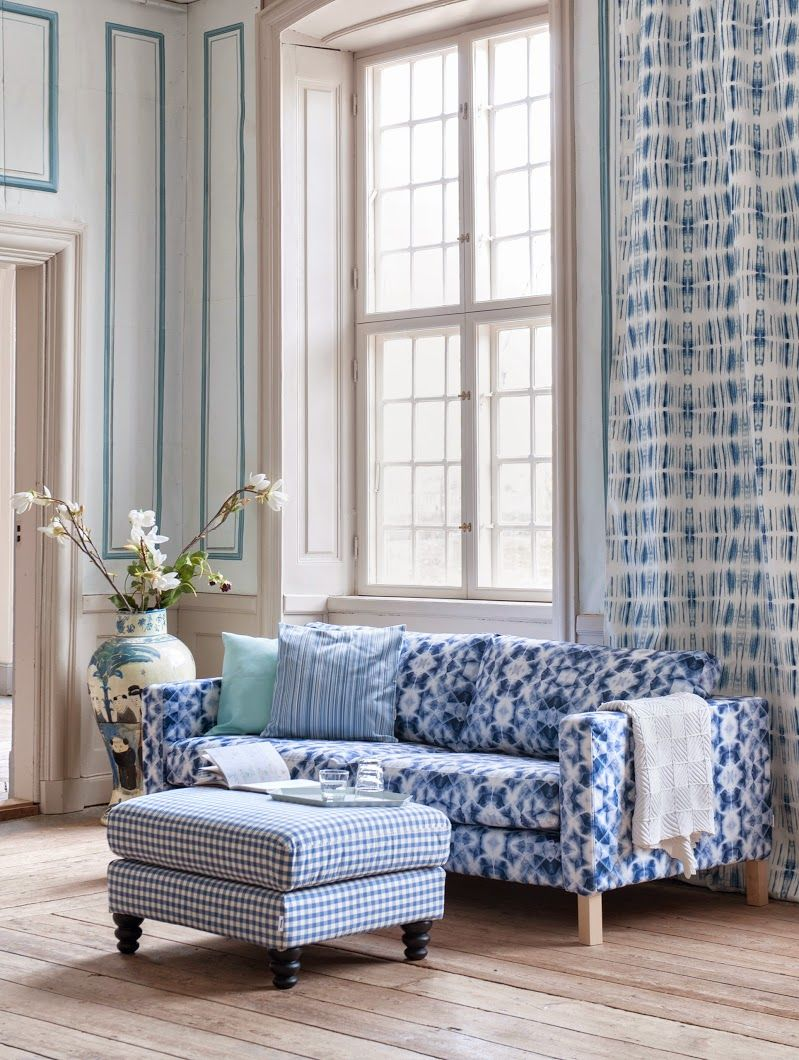 Merveilleux Karlstad 3 Seater Sofa Cover In Ondes, Cushion Covers In Aqua Panama Cotton  And Static Stripe Light Denim Blue. Karlstad Footstool Cover In Vreta ...