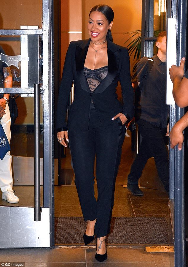 fc636f176de She dares to bare  La La Anthony showed off her assets in this revealing  tuxedo from designer Tom Ford when she was spotted out on Tuesday in  Manhattan
