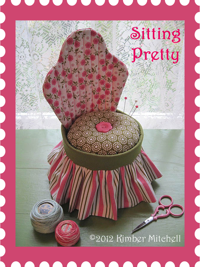 """pincushion design today. It's called """"Sitting Pretty""""—a flirty and feminine boudoir chair. Can you just imagine a larger version sitting in a ladies dressing room?"""