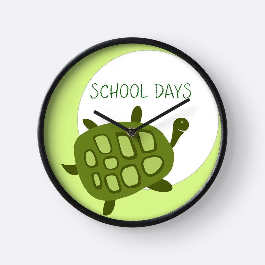 Turtle School Days wall clock by Dizzydot