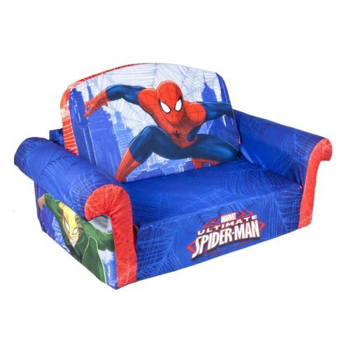Childrens Foam Sofa Bed Spiderman Themed Flip Open Sofa, Marshmallow  Furniture