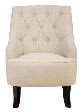 Stella Traditional Hand Tufted Accent Chair In Natural Colored Fabric