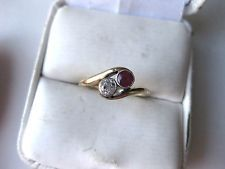 ANTIQUE EUROPEAN 585 YELLOW GOLD RING: DIAMOND & RUBY,late 19 c.
