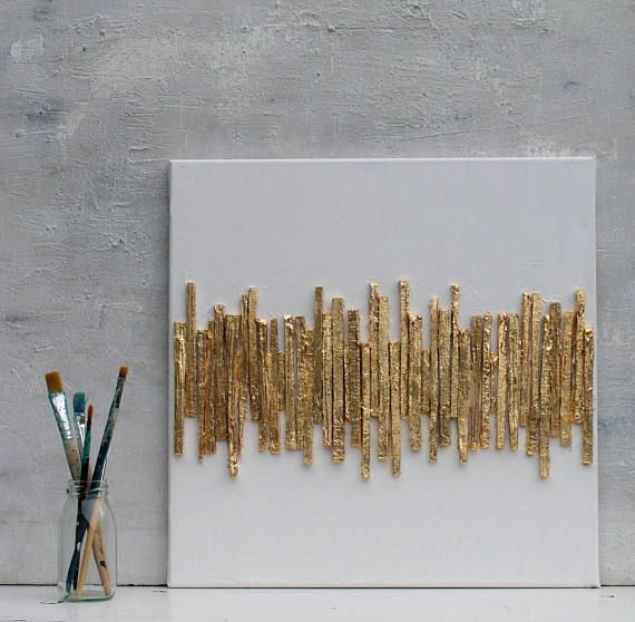 Photo of Gold leaf, abstract painting, gold, 40x40x1.5 cm, structure picture, mixed media, paper, atelier maltopf, structure painting, structure picture, # 33