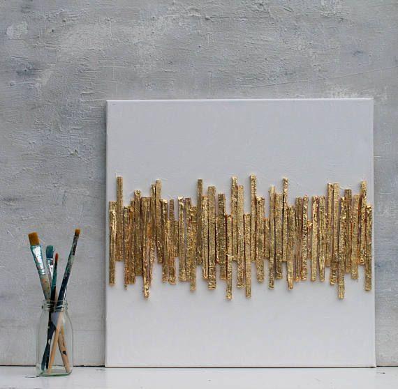 Gold leaf, Abstract, paper, gift, 16x16x0,6 office decor, mixed media, gold, wall decor, art, golden Art, contemporary, wall art, artworks