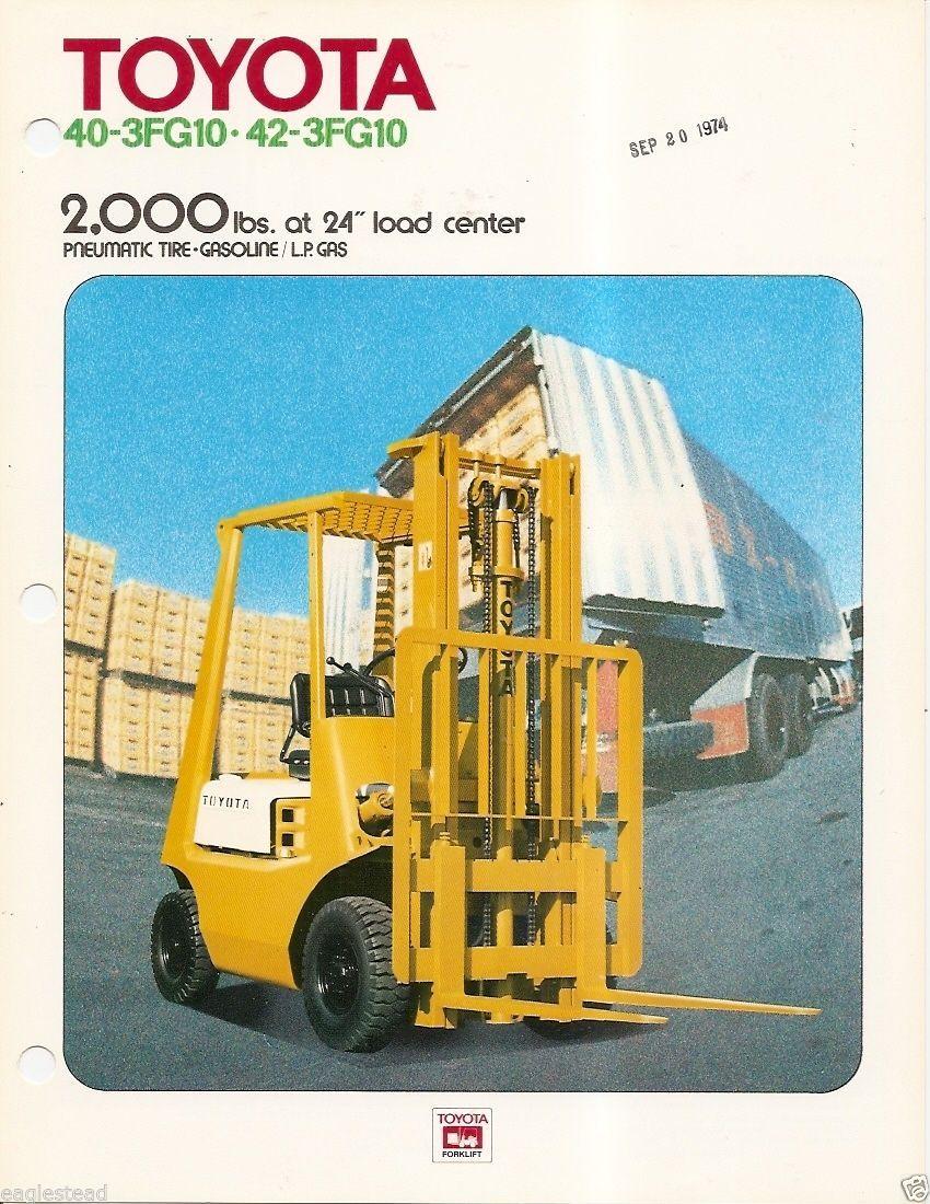 Fork Lift Truck Brochure - Toyota - 40-3FG10 - 42-3FG10 - c1973 (LT72)