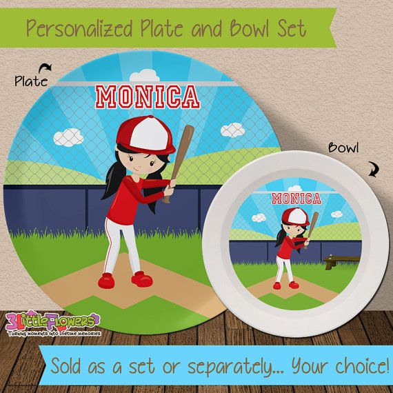 Baseball Plate and Bowl Set - Personalized Melamine Children Plate Cereal Bowl - Choose HAIR SKIN  sc 1 st  Pinterest & Baseball Plate and Bowl Set - Personalized Melamine Children Plate ...