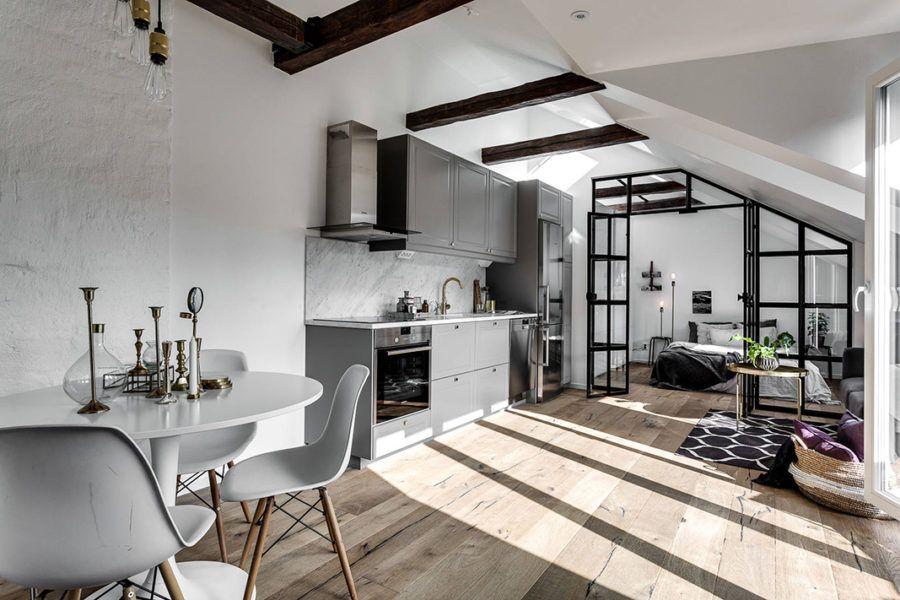 Underbar vindsvåning med 9 smarta compact living-detaljer #compactliving