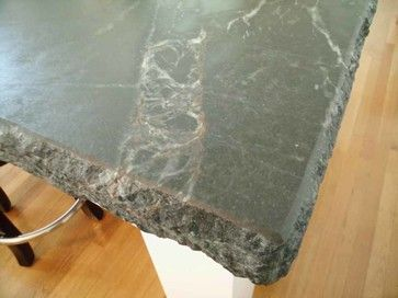 Soapstone Island With Laminated Chiseled Edge And Rust Colored Veins Traditional Kitchen Countertops Sacramento Teresina