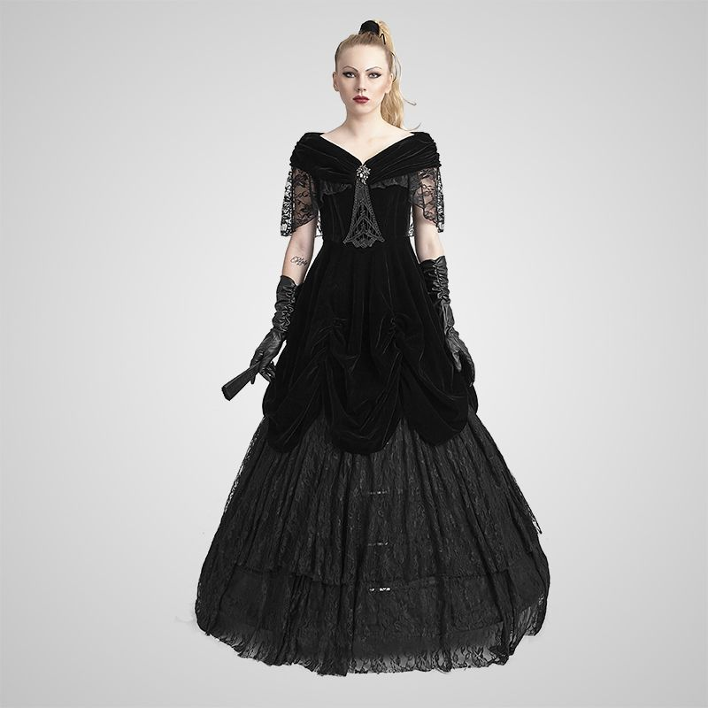 Gothic Black Velvet And Lace Off Shoulder Corset Ball Dress For Women 165164 46e7611a2b7a