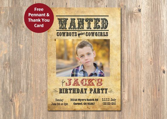 Cowboy Photo Birthday Invitation. Cowboy Wanted by 4MustardSeeds ...