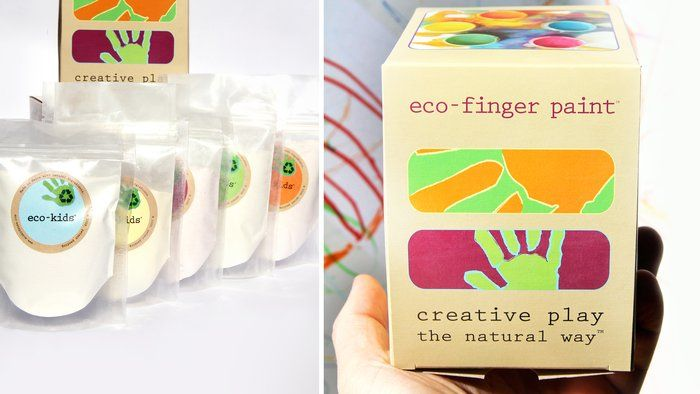 "Packaging Design by Eco-Kids (just add water): ""unlock your child's creativity with these powder-based finger paints, made from all-natural organic fruit, plant and vegetable extracts."""