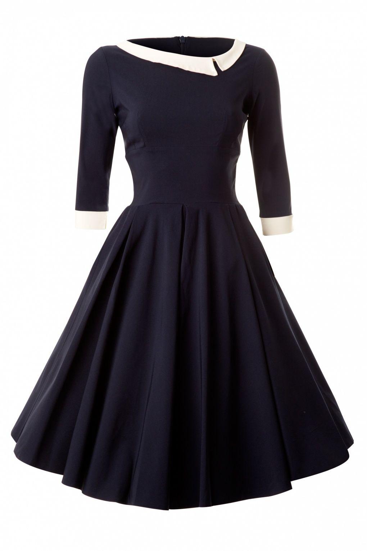So Couture - Navy Mistress Mad Men Vintage Swing dress Blaues Kleid ...
