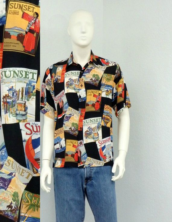 24cfef58 Vintage 80s Reyn Spooner Black Hawaiian Shirt, 1930s Sunset Magazine ...